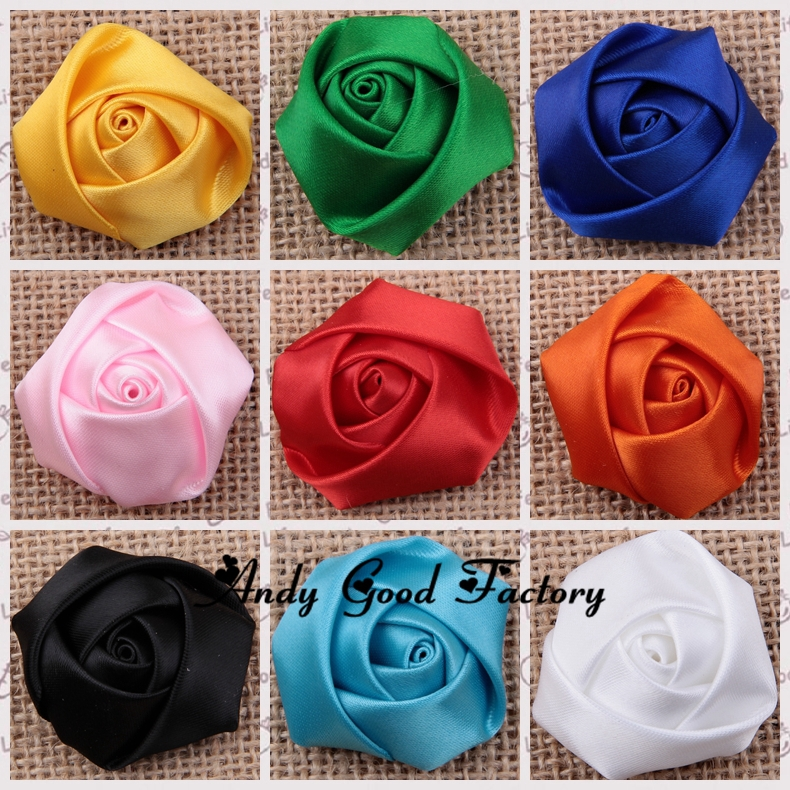 180pcs/lot 20 Colors Rose Flowers Baby Flower Headbands Satin Rolled Rosettes Ribbon Rose Fabric Flower Hair Acessories FL078(China (Mainland))