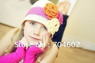2012 Newest Fashion Autumn Baby Crochet Flower Hats and Caps Free Shipping 10pcs/lot H0105