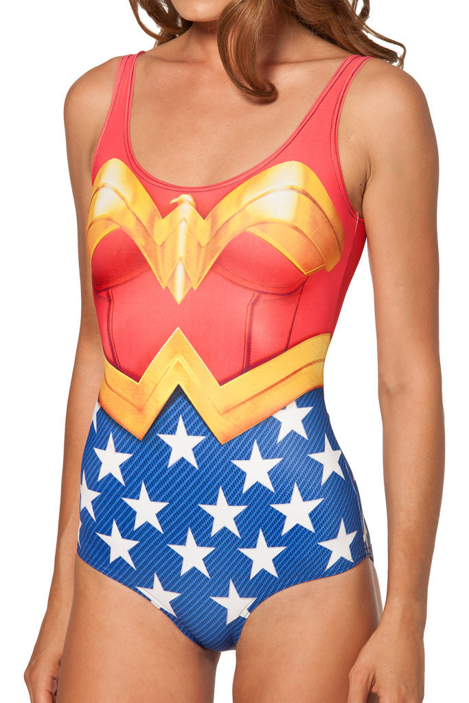 Wonder Woman Superman Bandeau Swimwear 2015 Summer Style Sexy One Piece Swimwear Body Shaping Swimsuits Swimming Suit For Women(China (Mainland))