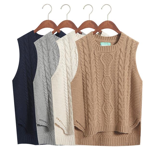 Мода опрятный стиль с коротким дизайн рукавов свитер женский осень весна жилет женщин ...