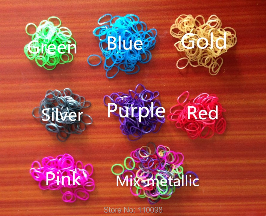 400packs/lot free shipping Loom Bands - 600 Metallic Rubber Band Refill Value Variety Pack with Clips - Compatible for loom kit(China (Mainland))
