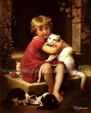 Leon Perrault Her Favorite Pet Oil Painting paint Canvas Art Panel Paintings Living Room Wall Posters Jesus Christ Painting art(China (Mainland))