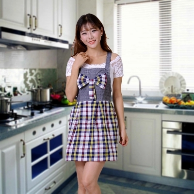 Cute Bowknot Shoulder Type Plaid Sleeveless Apron Fashion Anti-dust Oil Proofing Casual Aprons Kitchen Housewife Cleaning Tool(China (Mainland))