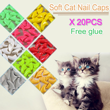 20pcs / bag Soft Cat Nail Caps / Cat Nail Cover / Paw caps / Pet Nail Protector with free Adhesive Glue Size XS S M L(China (Mainland))