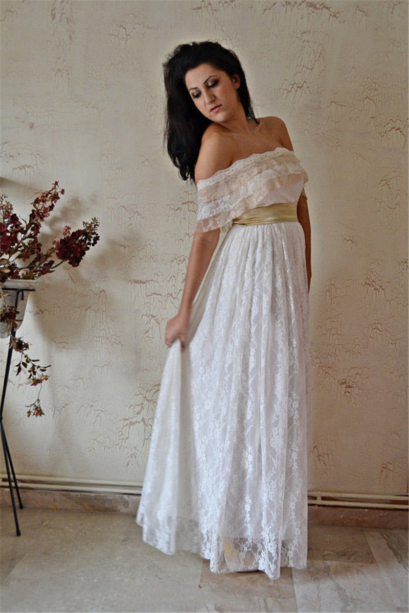 Mansa Vintage Strapless Long Lace Beach Wedding Dress