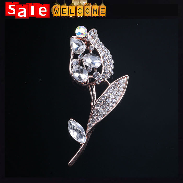 Korean Gold Plated Rhinestone Flower Brooch Scarf Pins Fashion Crystal Jewelry Accessories hijab Jewelry Leaf Rose Bud Corsage(China (Mainland))