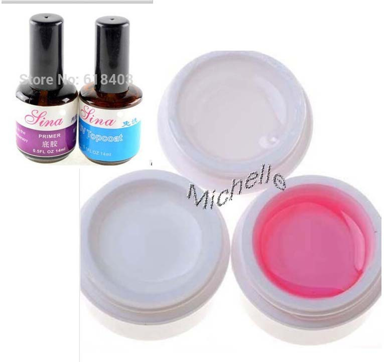 3pcs UV builder gel + Nail form + Top coat + Base coat primer nail for creat fantastic crystal effect , clear , white , pink(China (Mainland))