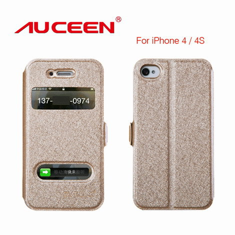 Flip Waterproof Dirt proof Shock Proof Real Leather Case for lPhone 4/4S anti-knock Full protection Magnetic Chip Phone Cover(China (Mainland))