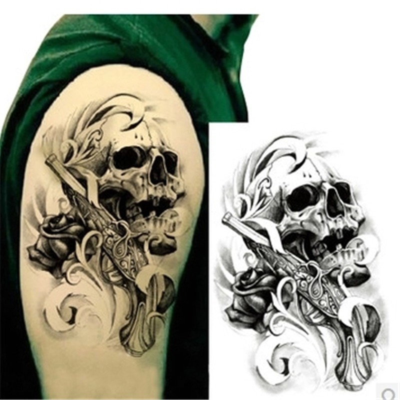 1pcsSexy Black Death Skull Shoulder 3D Tattoo Waterproof Temporary Tattoos Men Henna Fake Tattoo Sleeve Arm Sticker For Body Art(China (Mainland))