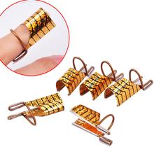 5pcs/set  Reusable Dual Silver /Gold Nail Form For Nail Art Making C Curve Acrylic French Tips(China (Mainland))