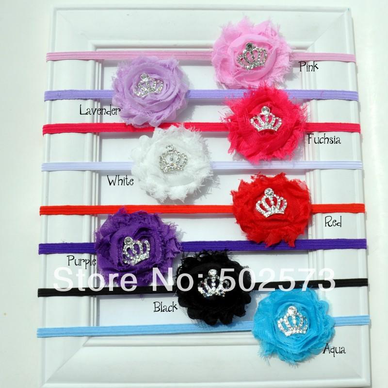 Shabby Flower Headband single flower with mini tiara button Newborn Headband, Toddler Headband 240PCS(China (Mainland))