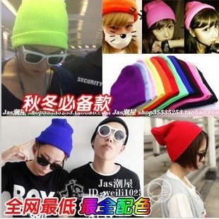 Free shipping neon color Beanies knitted autumn and winter hat candy color hip-hop knitted fluorescent hat cap 10pcs/lot
