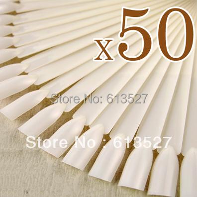 50 tips New Pro Natural False Nail Art Color Chart Stick Nails Polish Display Foldable Practice Fan Board(China (Mainland))