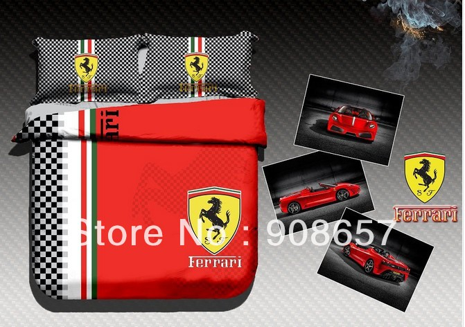 New 2014 Modern red black Car LOGO Printed bed linen quilt cover bedding cotton full queen size comforter sheets bedclothes set(China (Mainland))