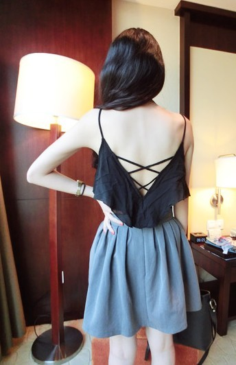 Fashion normic all-match beautiful strap racerback sleeve ruffle spaghetti strap small vest z17