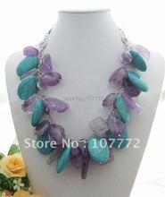 Beautiful! Amethyst&Turquoise Necklace    Free+shippment(China (Mainland))