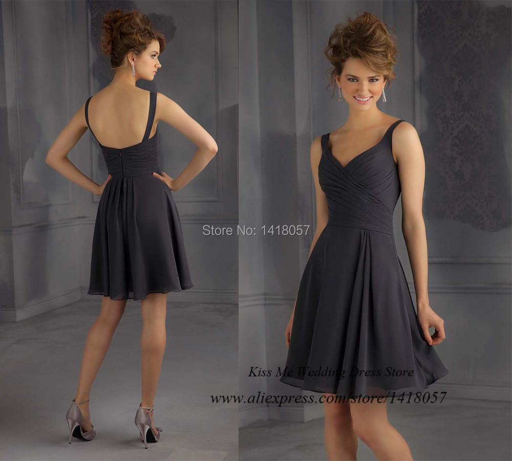 Vestidos de dama de honor sweet grey short bridesmaid for Grey dress wedding guest