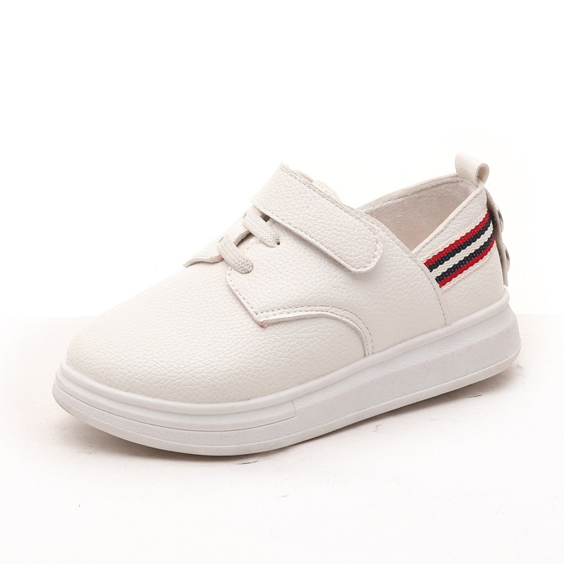 2016 Boys Magic Hook Leather Shoes British Style Toddler Girls White Black Platform Leisure Shoes Children Outdoor Shoes(China (Mainland))