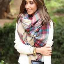 Fantastic Scarf Wrap Shawl Plaid Cozy Checked Women Lady Blanket Oversized Tartan Free Shipping
