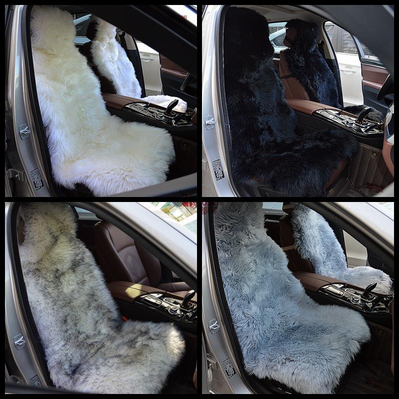 Фотография 2 pieces/Lot 4Colors DUMI 2016 Winter 135x55cm  Universal Fit Long Wool 100% Genuine Sheepskin Car Seat Covers