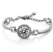 למעלה איכות מעולה נשים חתונת שרשרת עגיל טבעת סט תכשיטי כסף מצופה כסף מצופה זירקון קריסטל(China)