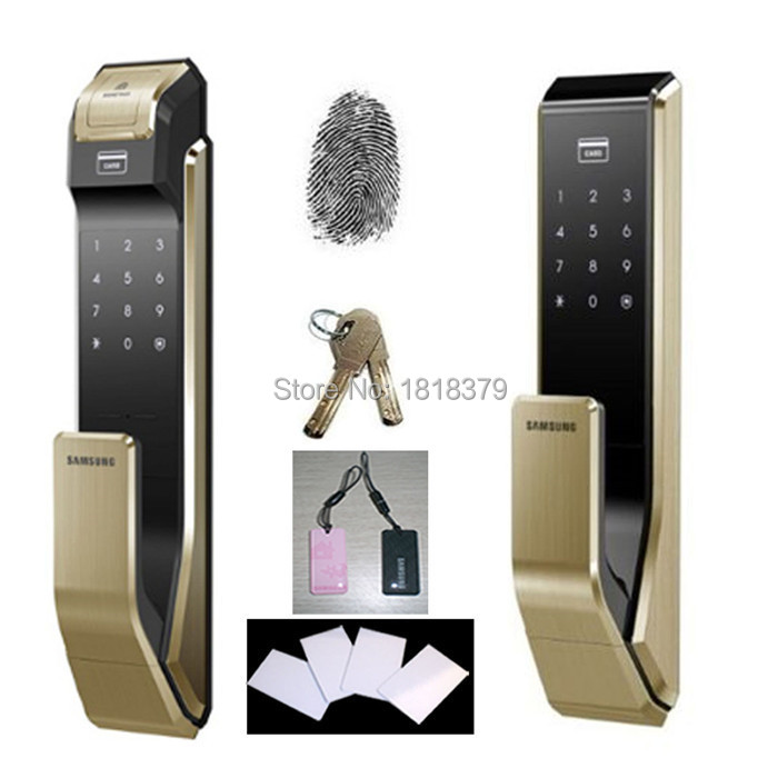 2014 Samsung EZON SHS-P910 Fingerprint Digital Door Lock / Push Pull Door Lock+4 RFID Card +2 Tag Card(China (Mainland))