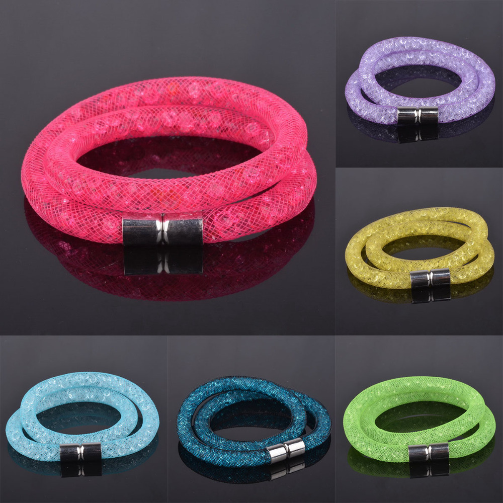 2015 Hot Mesh Double Stardust Bracelets Bangles Crystal Pulseiras stones Filled Magnetic Clasp Charm Bracelets Bangles For Women(China (Mainland))