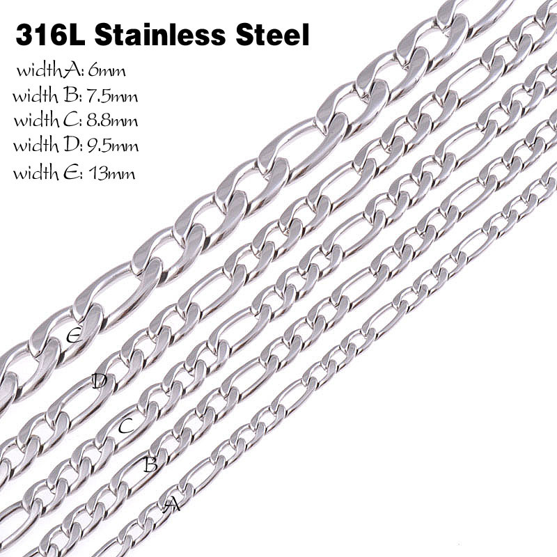 CUSTOMIZE SIZE 316L Stainless Steel Necklace chain Silver Color Chain Necklace Mens jewelry Christmas gift figaro chain(China (Mainland))