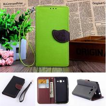 Leaf Buckle Leather Phone Case For Samsung Galaxy Core2 Core 2 SM G355H G3559 Wallet Card Holder Flip Cover Stand Wrist Strap