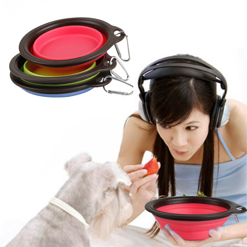 Pet Products Plastic Bowl Pet Folding Portable Dog Bowls for Food the Dog Drinking Water Bowl Pet Bowls Free Shipping(China (Mainland))