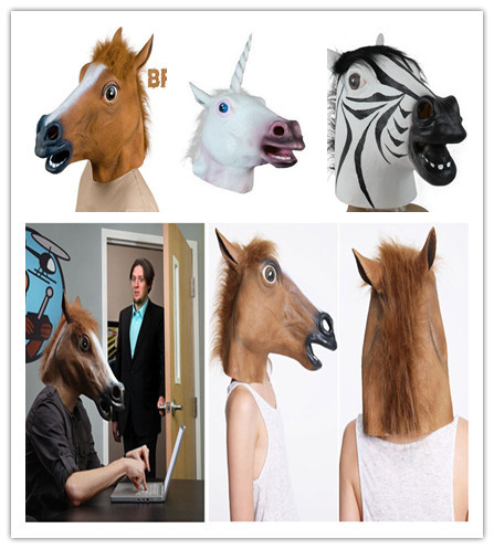 Creepy Horse Mask Head Halloween Costume Theater Prop Novelty Latex Rubber - Angelia Homesale store