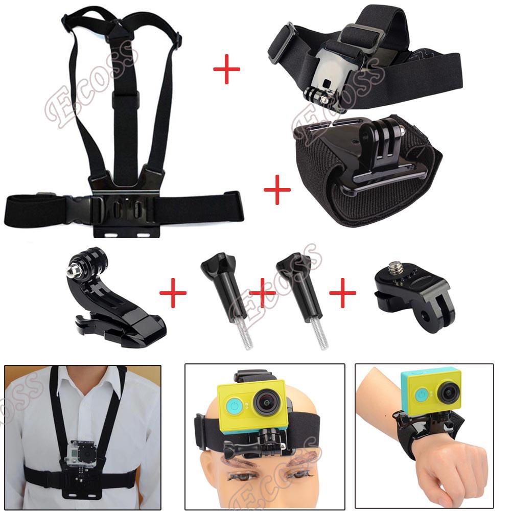 Xiaomi yi accessories gopro set chest strap mount+Wrist strap belt+ Head strap ForGoPro &amp; xiaomi yi  accessories Set<br><br>Aliexpress