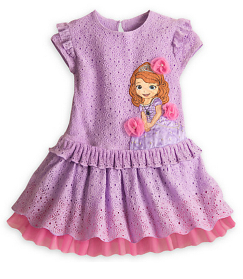 New 2015 sofia dress girl Summer dress lavender cartoon casual princess dresses children's clothes baby clothing(in stock)(China (Mainland))