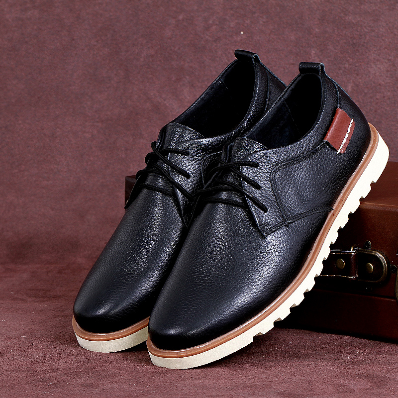 Фотография 2016Classic men  New Men Flats Shoes Casual Genuine Leather Shoes Men Black Oxford Shoes For Men Boots 7 Colors Big Size 38-44