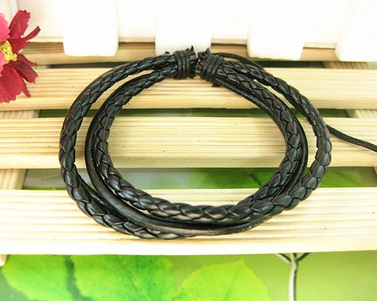 18%OFF Fashion Multilayer Weave Wrap Genuine Leather Hemp Bracelet Jewelry Adjustable Size Women LB054 - Gelory Z&J Top store