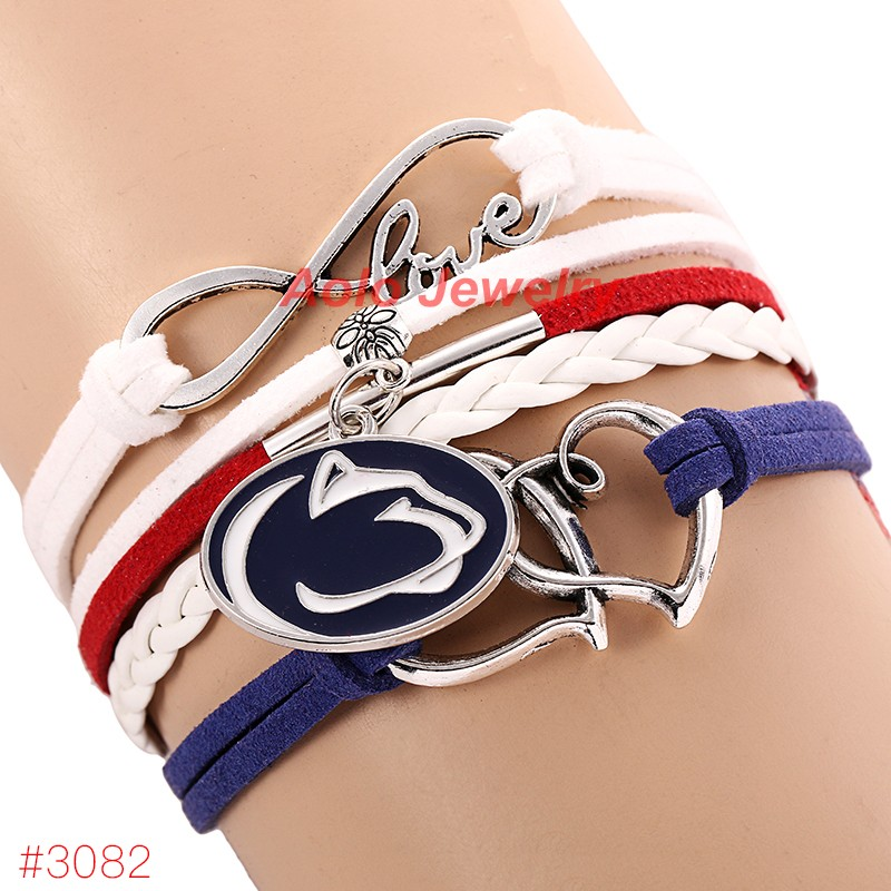NCAAF Infinity Love Penn State Nittany Lions Football Bracelet 2016 New Leather Bracelet Fans Jewelry 6Pcs/Lot ! Free Shipping!(China (Mainland))
