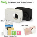 Kingma Xiaomi Yi 4k Screen Protector Film+ Xiaomi Yi 4K II Silicone Case+Lens Cover For Xiaomi yi 4K Action Camera 2 Accessories