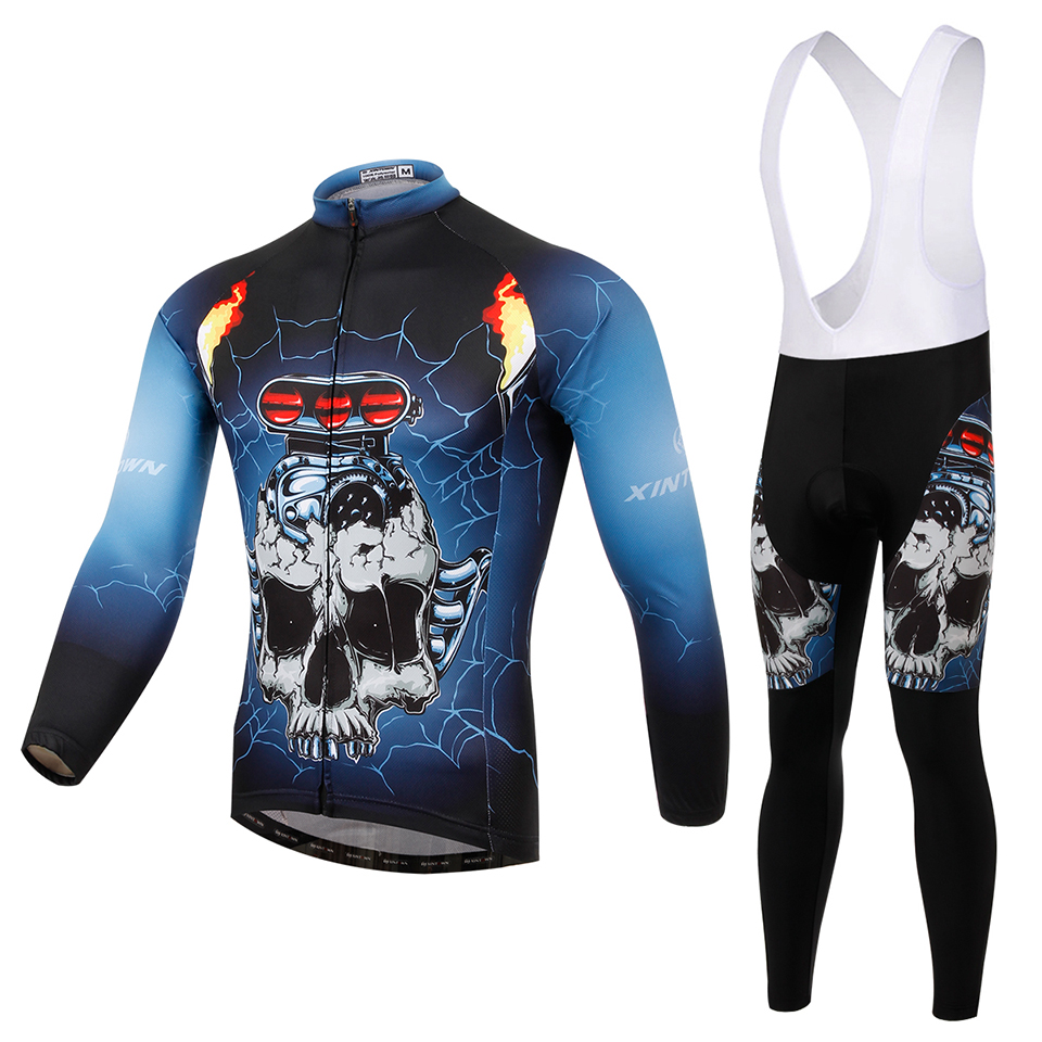 2015 Cool Men Bicycle Long Jersey Quick Dry Breathable S-XXXL High Quality XINTOWN Car Skull Design<br><br>Aliexpress