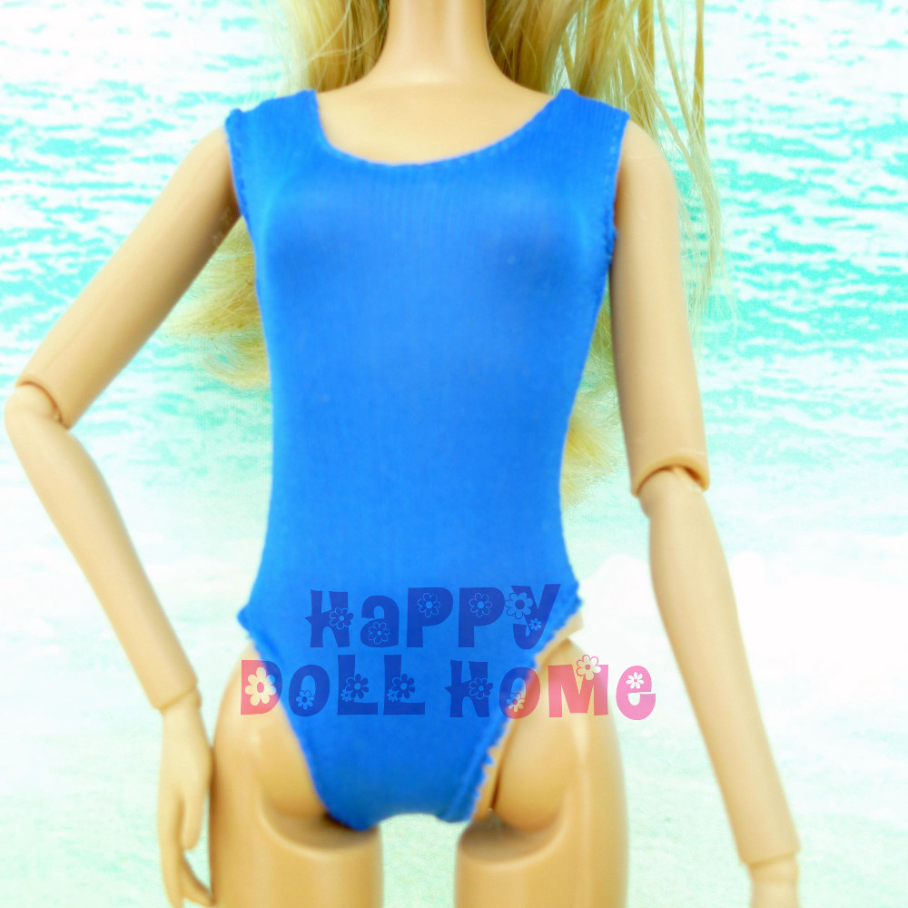 One Piece Pure Blue Swimsuit Summer season Sea Seashore Clothes Bathing Put on Garments + Slippers For Barbie Doll Child Play Home Toys Reward
