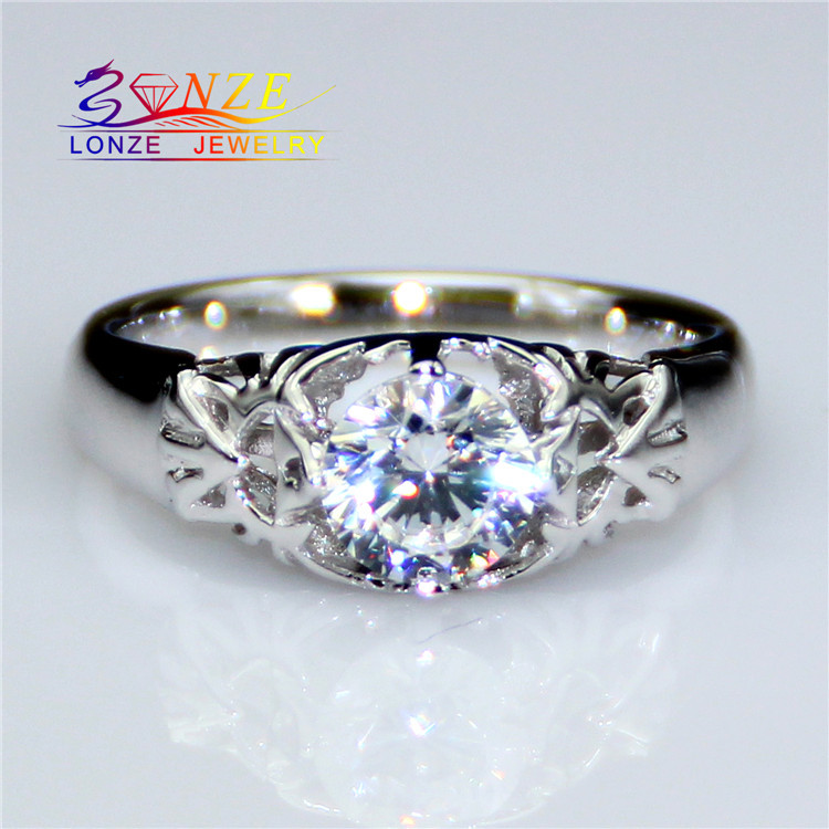 Zelda Female Style 0.8CT Moissanite Test Positive Lab Grown Diamond Solitaire 9k White Gold Engagement Wedding Ring Fine Jewelry(China (Mainland))