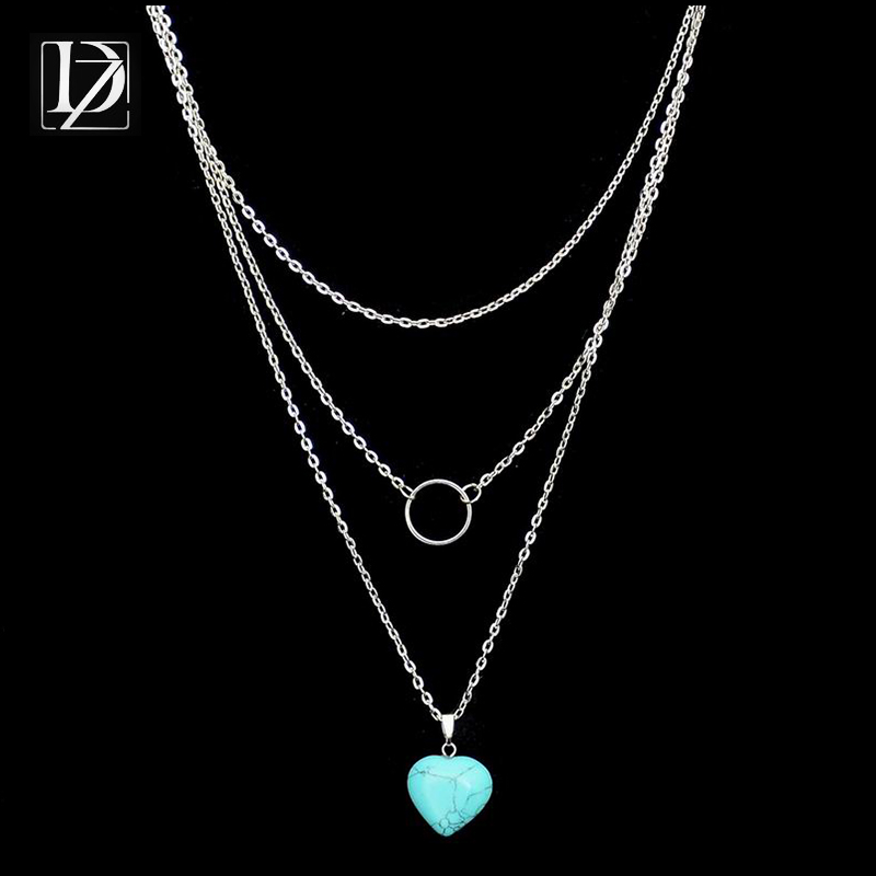 New Fashion Silver Plated Turquoise Heart Circle Necklaces Leaf 3 Layer Necklace multilayer Necklaces for women WXN082(China (Mainland))