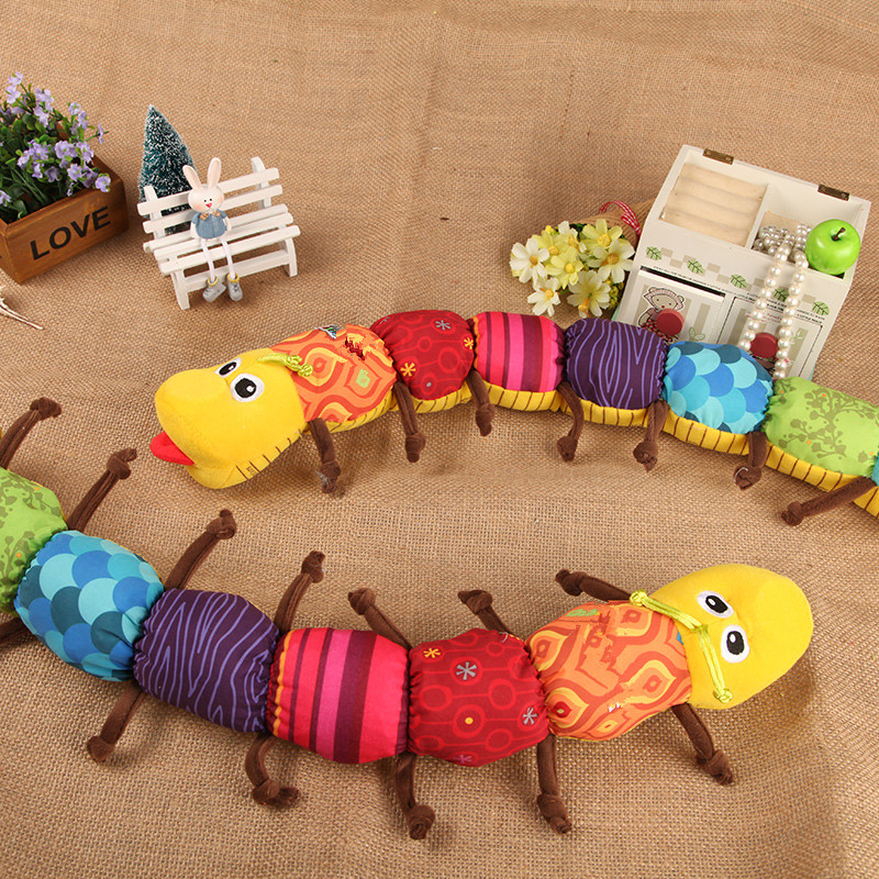 Wholesale New Baby Toy Musical Caterpillar Rattle with Ring Bell Cute Cartoon Animal Plush Doll Early Educational Toys(China (Mainland))
