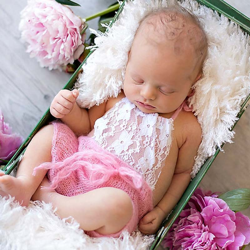 Lace Front Mohair Knit Romper Newborn Photography Prop Super Soft Newborn Lace Romper Baby Photo Props Shower Gift H276(China (Mainland))