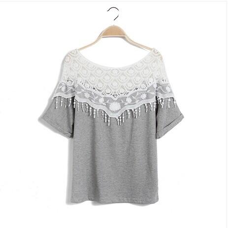 Womens Tops 2015 Sweet Hollow Lace Women Blusas Handmade Crochet Cape Collar Batwing Sleeve Tops For Women T Shirt Blouse(China (Mainland))