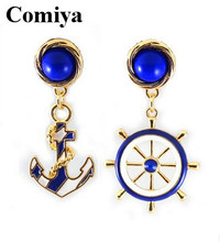 Comiya Fashion blue gold navy drop earrings for women anchor dangle earring brincos grandes brand cc allied express jewelry(China (Mainland))