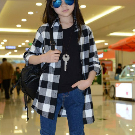2015 New Spring Autumn Big Girls Kids 100% Cotton Blouses Childrens Toddler Fashion Plaid Long Sleeve Casual Shirts(China (Mainland))
