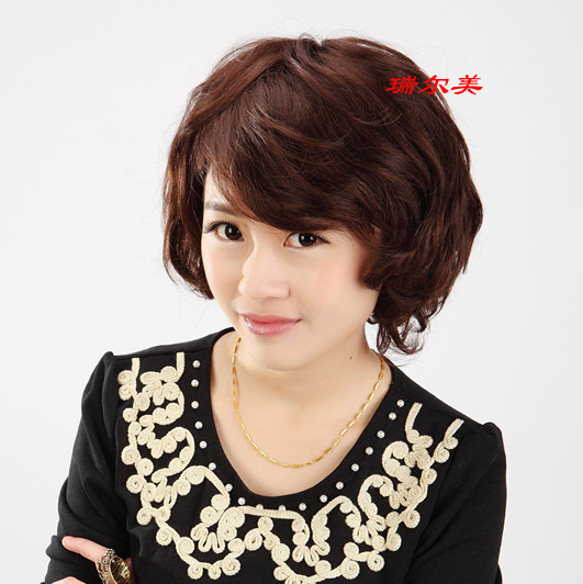 Short design women's wig hair oblique bangs hand-woven the scalp wig