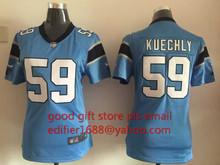 100% stitched youth Carolina Panthers children 59 Luke Kuechly Embroidery Logos size S to XL(China (Mainland))