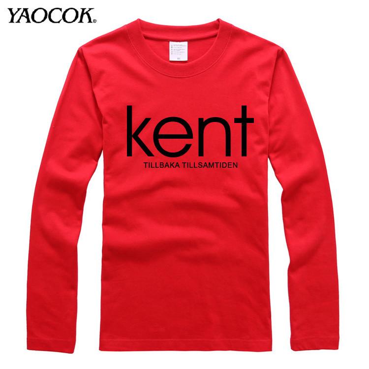 Wholesale Fashion Autumn & Spring T-shirts Men Brand KENT Band Printed Tshirts Casual Long Sleeve T Shirt Man O-neck Tops Red(China (Mainland))