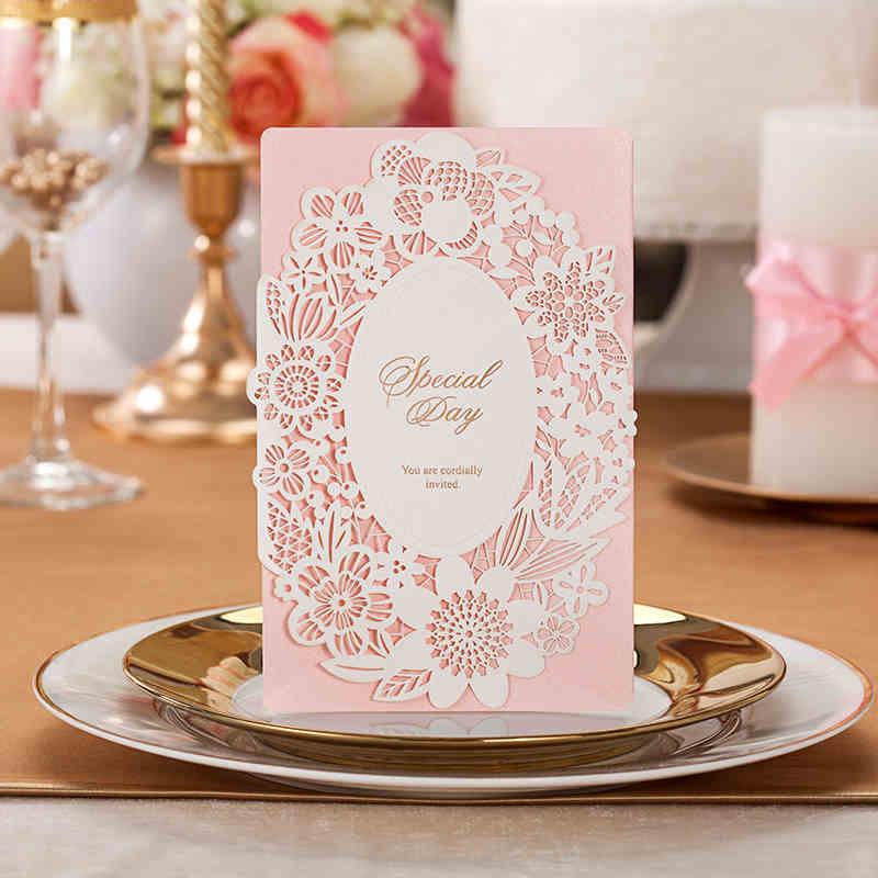 - 50 Sets Elegant Laser-Cut Lace Pink Wedding Invitations Romantic Theme Wedding, Envelopes & Stickers, Print Supplies Shop store